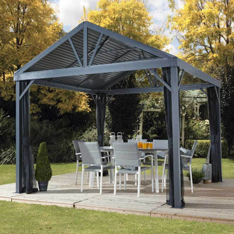 Image of Patio setup with a gray Sojag Sanibel I hard top gazebo