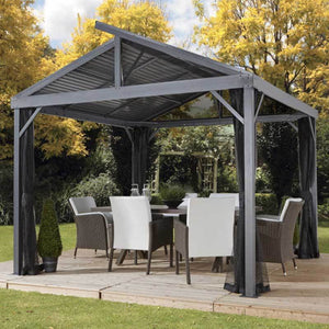 Sojag Sanibel gazebo canopy covering a dining table