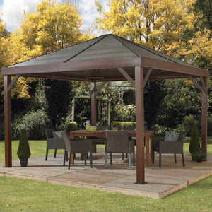 Metal roof gazebo with wood finish Sojag South Beach