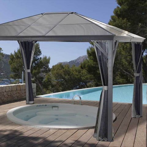 Sojag Verona gazebo over hot tub beside a pool