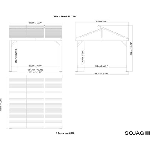 Image of Sojag South Beach II Hard Top Gazebo 12 x 12 ft