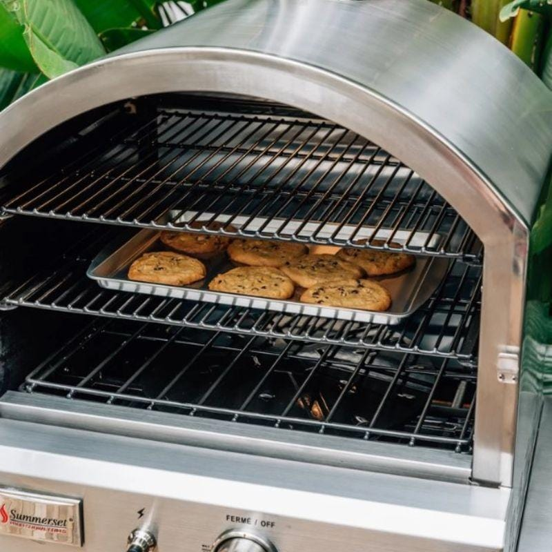 Baking cookies in the Summerset Outdoor Gas Pizza Oven
