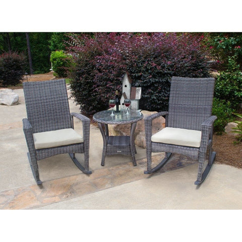 Image of Bayview Rocking Chair Set By Tortuga Outdoor Great Room - Pecan