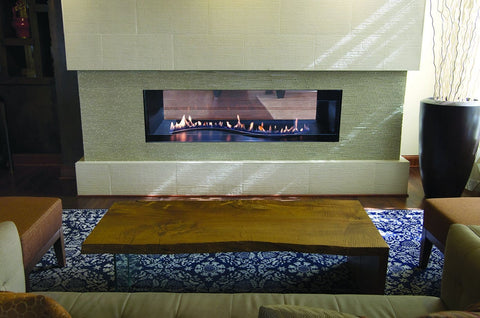 "Empire Boulevard See-Through Vent-Free Fireplaces 48"" with Curved Burner"