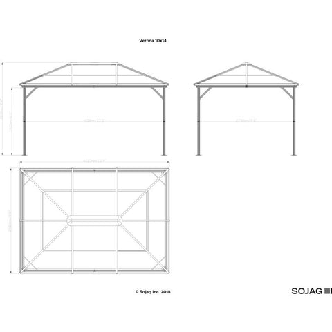 Image of Sojag Verona Hard Top Gazebo with Polycarbonate Roof