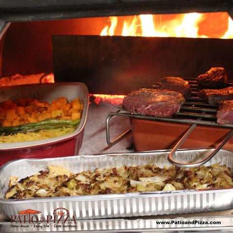 Wood fired cooking in Prime Pizza Oven - Steak & Vegetables