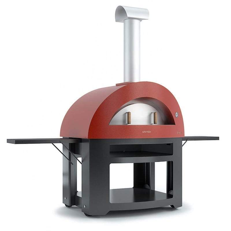 Red Alfa Allegro Pizza Oven on a Rolling Base