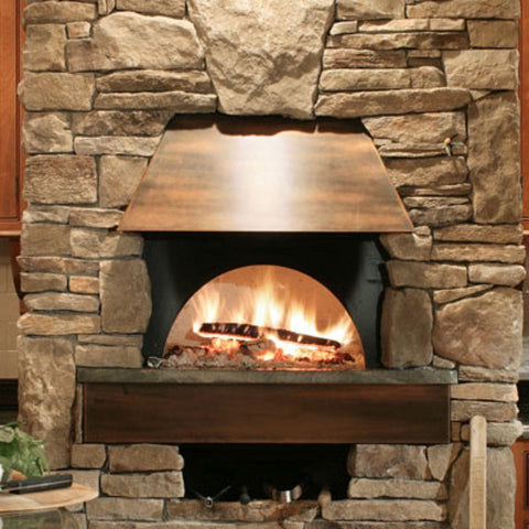 Indoor wood burning pizza oven built from Earthstone Ovens Modular DIY Kit
