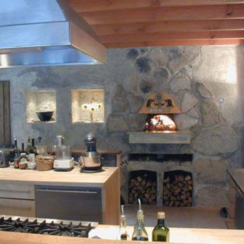 Indoor pizza oven in kitchen built with Earthstone Ovens Kit