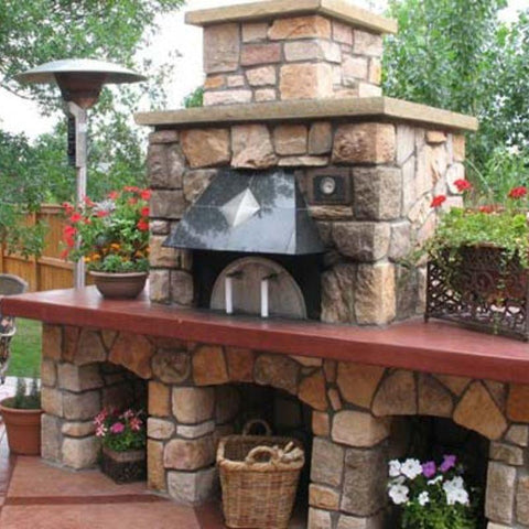 Outdoor custom brick pizza oven built from Earthstone Ovens Modular DIY Kit