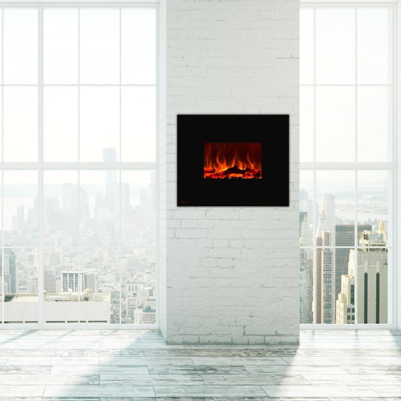 36-inch Wall Mounted Royal Black Electric Fireplace