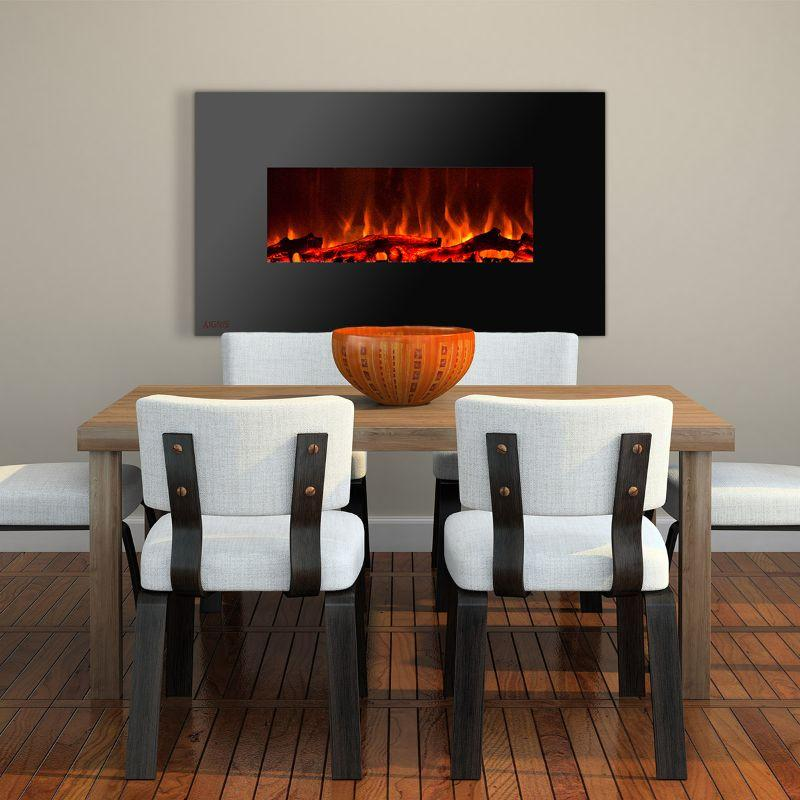 Ignis Wall Mount Royal Black Electric Fireplace 50-inch