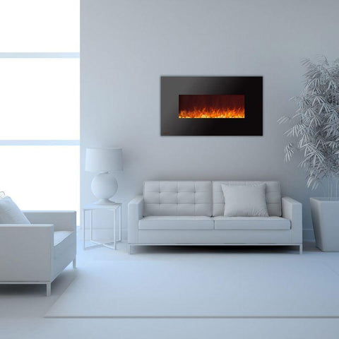 Image of Ignis Wall Mount Royal Black Electric Fireplace 50-inch