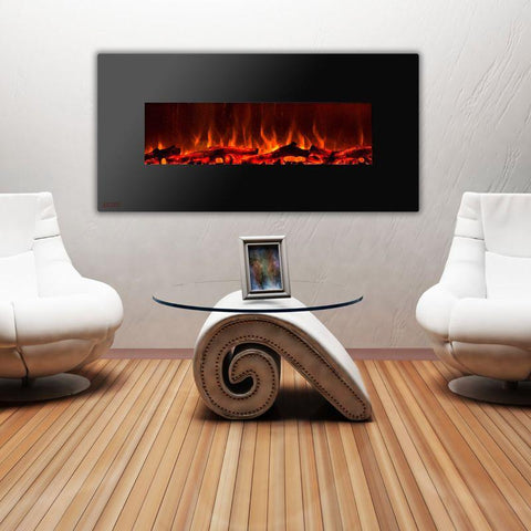 Image of Ignis Wall Mount Royal Black Electric Fireplace 60-inch
