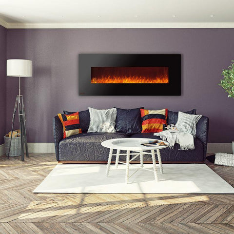 Image of 72-inch Ignis Royal Black Electric Fireplace Mounted on Living Room Wall