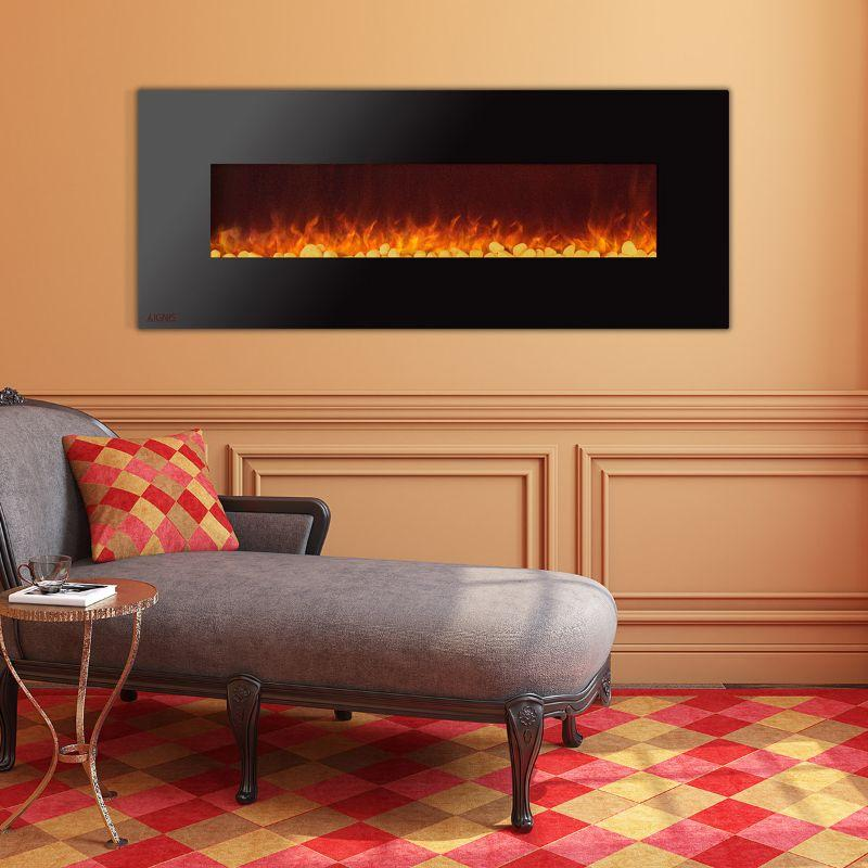 Ignis Wall Mount Royal Black Electric Fireplace 72-inch