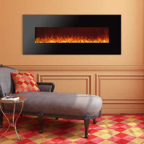 Image of Ignis Wall Mount Royal Black Electric Fireplace 72-inch