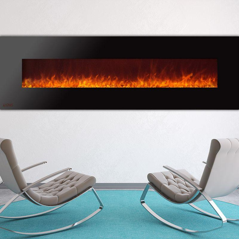 Ignis Wall Mount Royal Black Electric Fireplace 95-inch