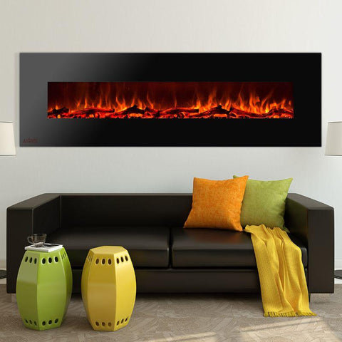 Image of Ignis Wall Mount Royal Black Electric Fireplace 95-inch