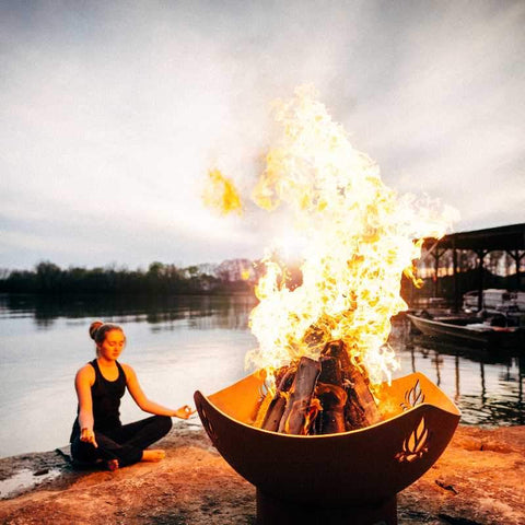 Image of Wood Burning Fire Pit | Fire Pit Art - Namaste | Fire Pits Propane