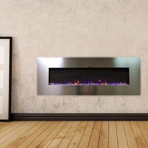 "Image of AudioFlare 80024 Stainless 50"" Recessed Electric Fireplace"