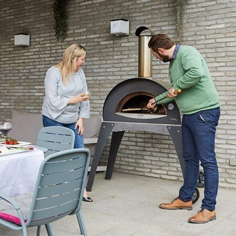 Cooking in an Alfa Ciao Pizza Oven on the patio