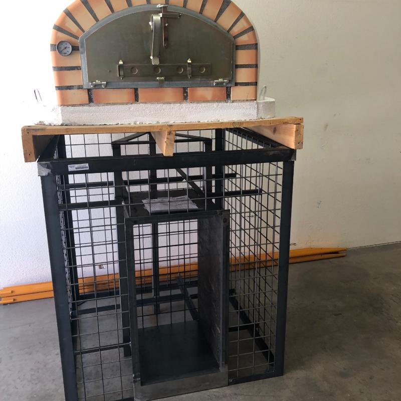 Gabion outdoor pizza oven stand for Lisboa Brick Oven