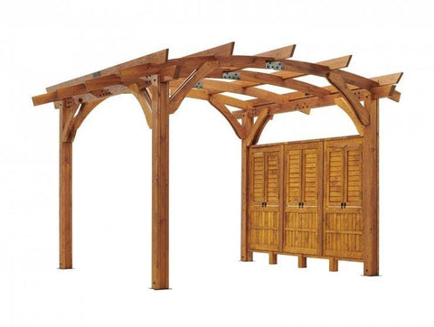 Redwood Wood Wall for 12x12' Sonoma Pergola