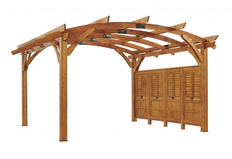 Redwood Wood Wall for 16x16' Sonoma Pergola