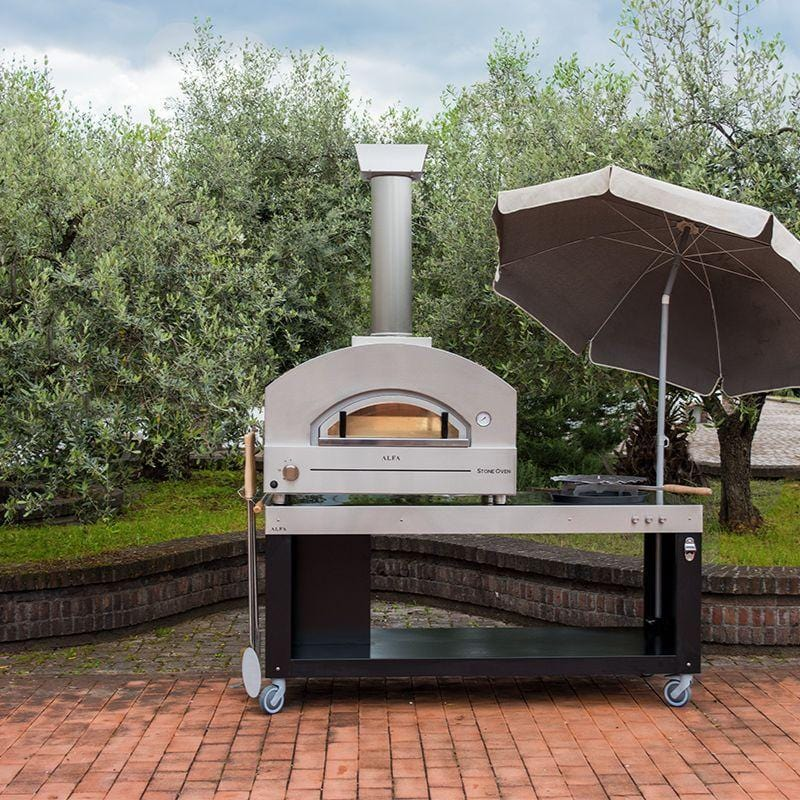 Alfa Stone Stainless Steel Pizza Oven on Pizza Oven Cart