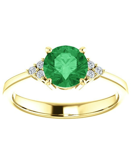 Six diamond accented four prong ring setting - Create your own ring