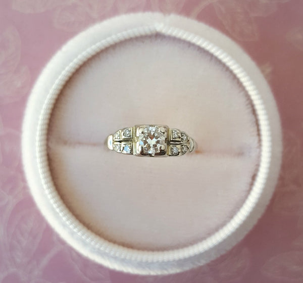 Art Deco antique 14K white gold diamond ring