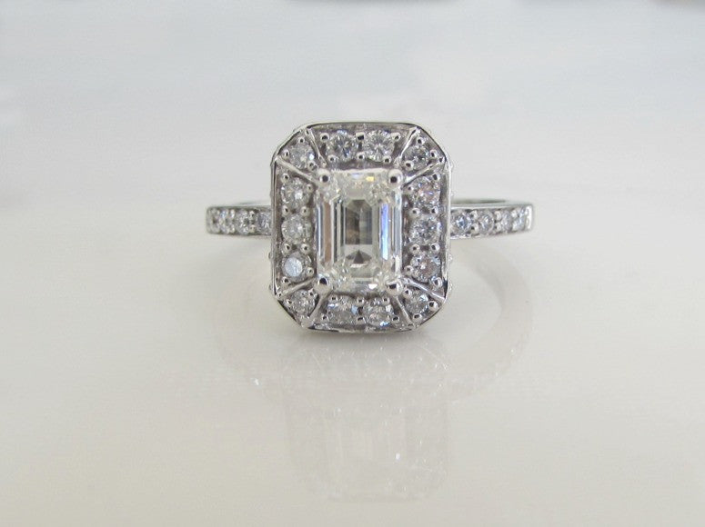 Estate .97ct diamond halo and 14K white gold ring