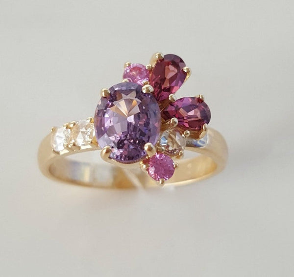 14k yellow gold semi precious gemstone cluster ring with rose cut diamonds