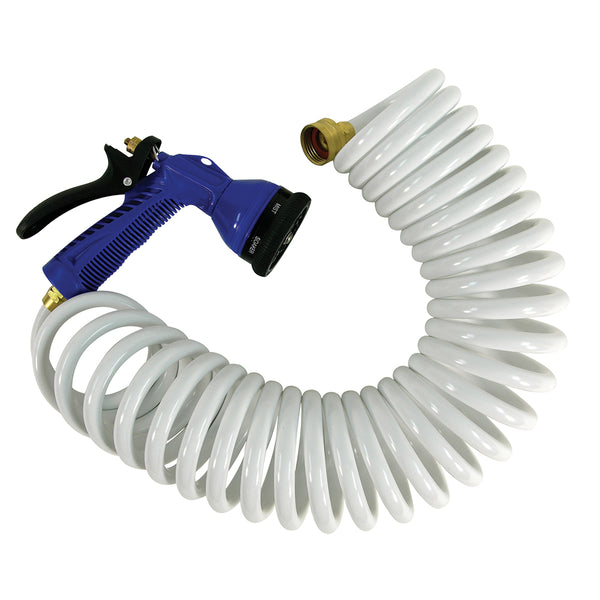 15' White Coiled Hose w/Adjustable Nozzle