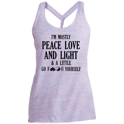 I'm Mostly Peace, Love And Light Twist Back Tank