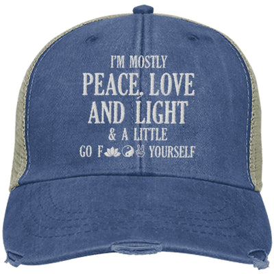 I'm Mostly Peace, Love And Light Trucker Hat