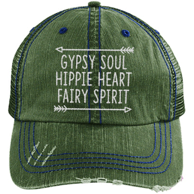 Gypsy Soul, Hippie Heart, Fairy Spirit Unstructured Trucker Hat