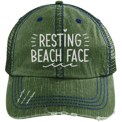Resting Beach Face Unstructured Trucker Hat