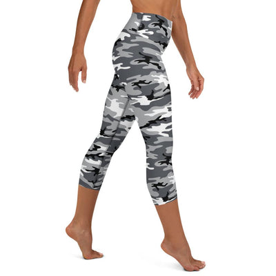 Black & White Camo High Waist Capris