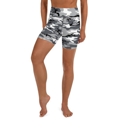 Black & White Camo High Waist Shorts