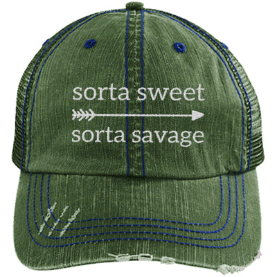 Sorta Sweet Sorta Savage Unstructured Trucker Hat