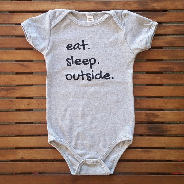 Eat Sleep Outside short sleeve onesie
