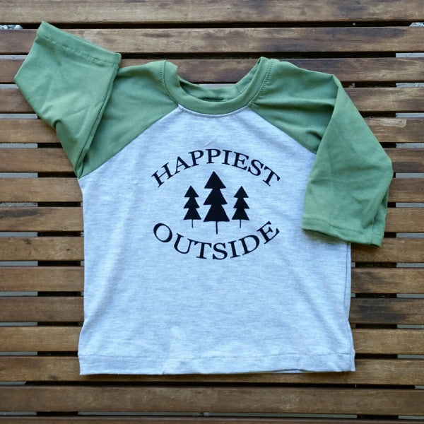 Happiest Outside handmade kids' raglan baseball tee