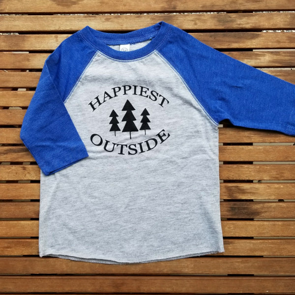 Happiest Outside kids' raglan baseball tee