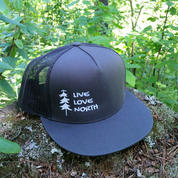Adult flat bill trucker hat - Live Love North