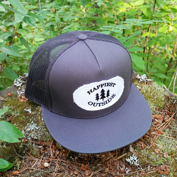 Adult flat bill trucker hat - Happiest Outside