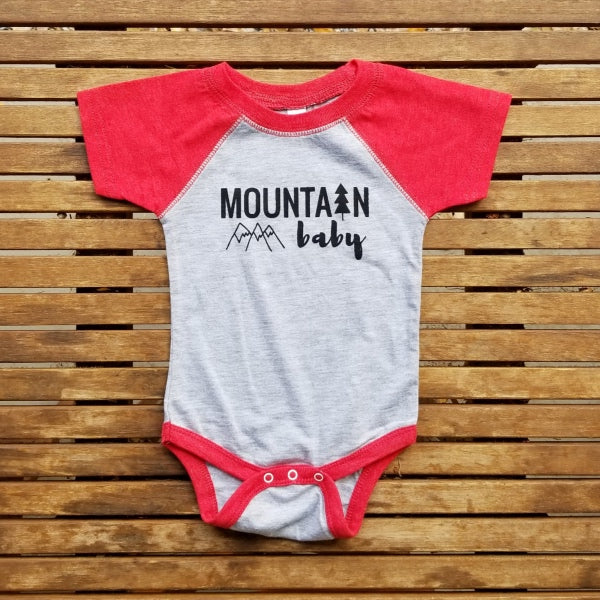 Mountain Baby baseball short sleeve onesie