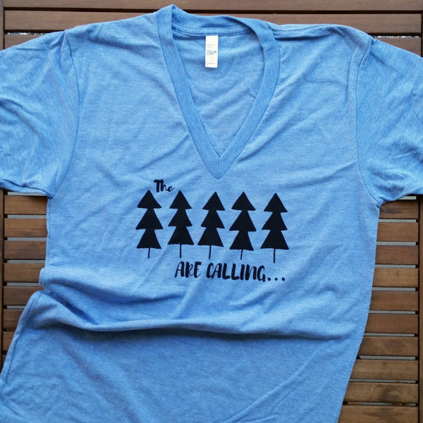 The Trees are Calling adult unisex v-neck tee