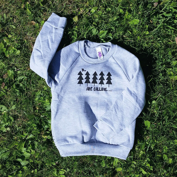 The Trees are Calling kids' raglan fleece sweatshirt